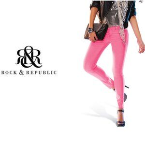 Rock and Republic Pink Kashmere Skinny Jeans Sz 4